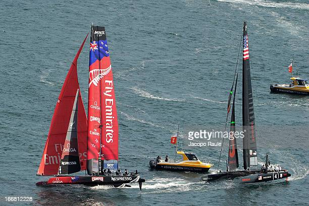 Emirates Team New Zealand skippered by Dean Barker and Team Oracle skippered by Tom Slingsby sail during a practice race of America's Cup World...