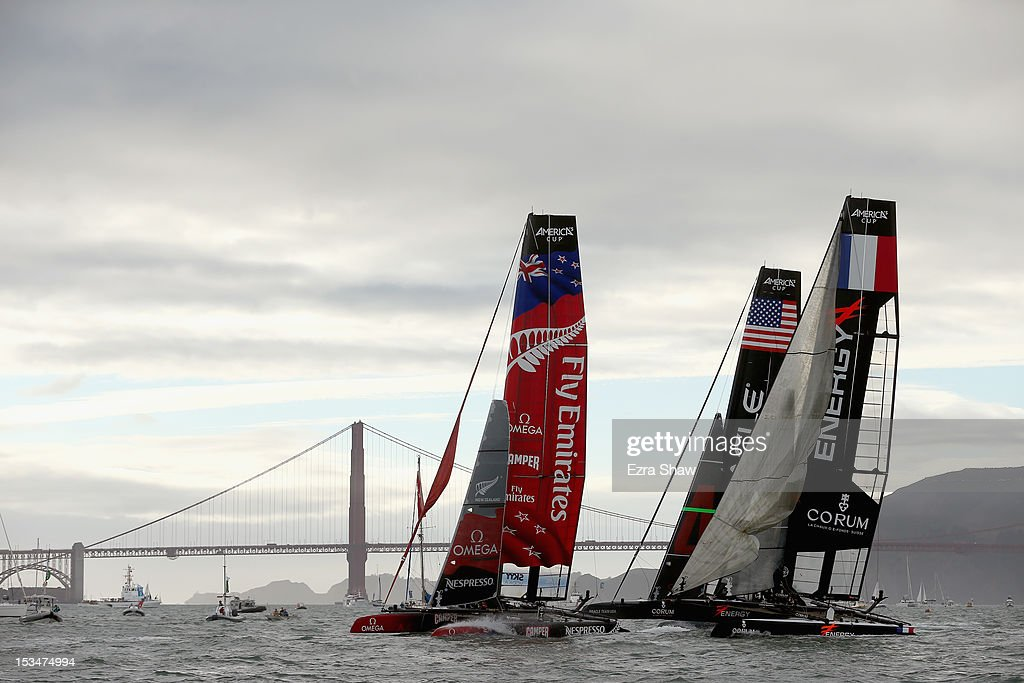 Emirates Team New Zealand skippered by Dean Barker competes in a fleet race of the America's Cup World Series on October 5, 2012 in San Francisco, California. Teams are racing on an AC45 boat, which is the forerunner to the AC72 that teams will race next year in the Louis Vuitton Cup and America's Cup Finals in San Francisco. Olympic swimmer Natalie Coughlin was the guest racer on the Emirates boat during the sixth fleet race.