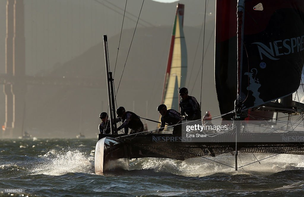 Emirates Team New Zealand skippered by Dean Barker competes in a fleet race during the America's Cup World Series on October 6, 2012 in San Francisco, California. Teams are racing on an AC45 boat, which is the forerunner to the AC72 that teams will race next year in the Louis Vuitton Cup and America's Cup Finals in San Francisco.