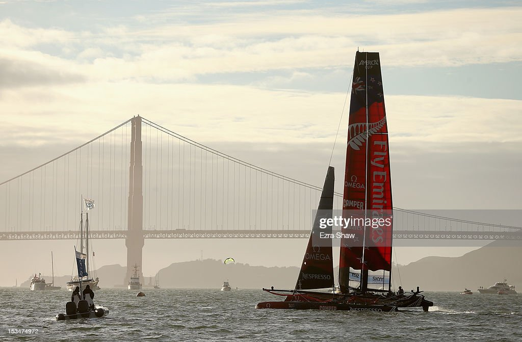 Emirates Team New Zealand skippered by Dean Barker competes in the sixth fleet race of the America's Cup World Series on October 5, 2012 in San Francisco, California. Teams are racing on an AC45 boat, which is the forerunner to the AC72 that teams will race next year in the Louis Vuitton Cup and America's Cup Finals in San Francisco. Olympic swimmer Natalie Coughlin was the guest racer on the Emirates boat during this race.