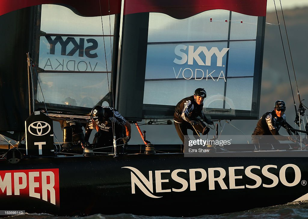 Emirates Team New Zealand skippered by Dean Barker competes in the match racing final against the Oracle Team USA boat skippered by James Spithill during the America's Cup World Series on October 6, 2012 in San Francisco, California. Teams are racing on an AC45 boat, which is the forerunner to the AC72 that teams will race next year in the Louis Vuitton Cup and America's Cup Finals in San Francisco.