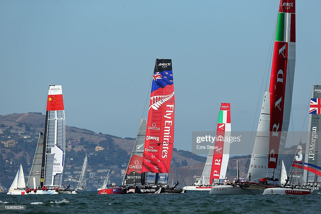 Emirates Team New Zealand skippered by Dean Barker competes in the final fleet race during the America's Cup World Series on October 7, 2012 in San Francisco, California. Teams are racing on an AC45 boat, which is the forerunner to the AC72 that teams will race next year in the Louis Vuitton Cup and America's Cup Finals in San Francisco.