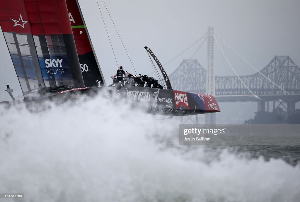Emirates Team New Zealand skippered by Dean Barker in action against Team Luna Rossa Challenge during the Louis Vuitton Cup Round Robin 5 on July 28, 2013 in San Francisco, California. The winner of the Louis Vuitton Cup goes on to race against Oracle Team USA in the America's Cup Finals that start on September 7. Emirates Team New Zealand won the race.