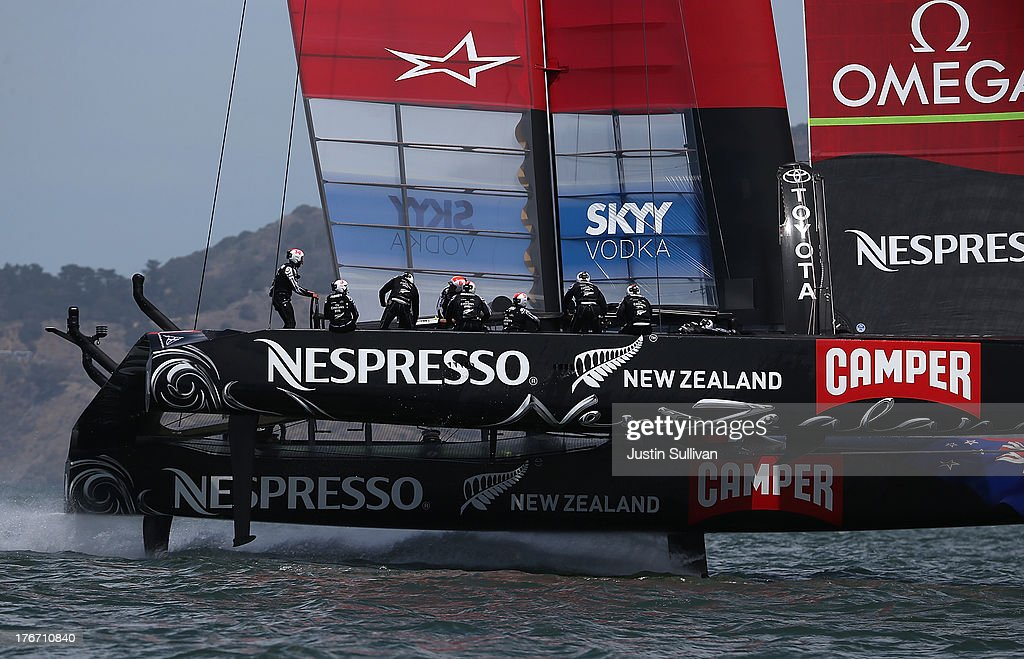 Emirates Team New Zealand (L) skippered by Dean Barker in action against Team Luna Rossa Challenge during race one of the Louis Vuitton Cup finals on August 17, 2013 in San Francisco, California. The winner of the Louis Vuitton Cup goes on to race against Oracle Team USA in the America's Cup Finals that start on September 7. Emirates Team New Zealand won race one.