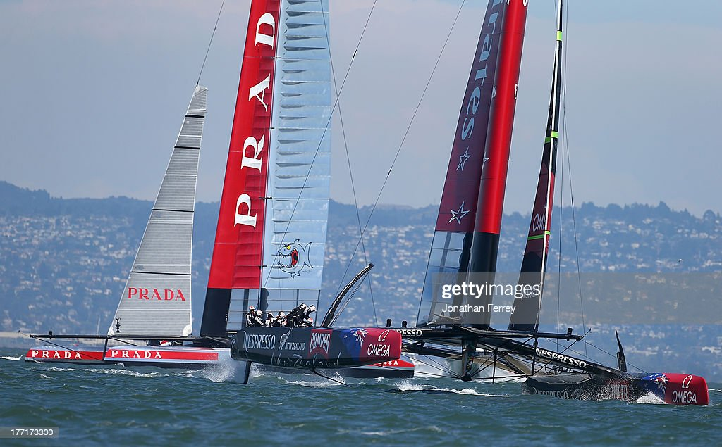 Emirates Team New Zealand skippered by Dean Barker (R) in action against Team Luna Rossa Challenge skippered by Massimiliano Sirena (L) during race five of the Louis Vuitton Cup finals on August 21, 2013 in San Francisco, California.