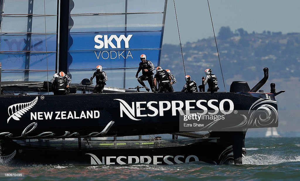 Emirates Team New Zealand skippered by Dean Barker in action against Oracle Team USA skippered by James Spithill during race 11 of the America's Cup Finals on September 18, 2013 in San Francisco, California. Emirates Team New Zealand won the race.