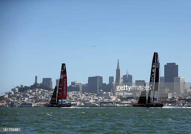 Emirates Team New Zealand skippered by Dean Barker in action against Oracle Team USA skippered by James Spithill during race 18 of the America's Cup...