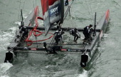 Emirates Team New Zealand skippered by Dean Barker in action during a fleet race in the America's Cup World Series on August 23 2012 in San Francisco...