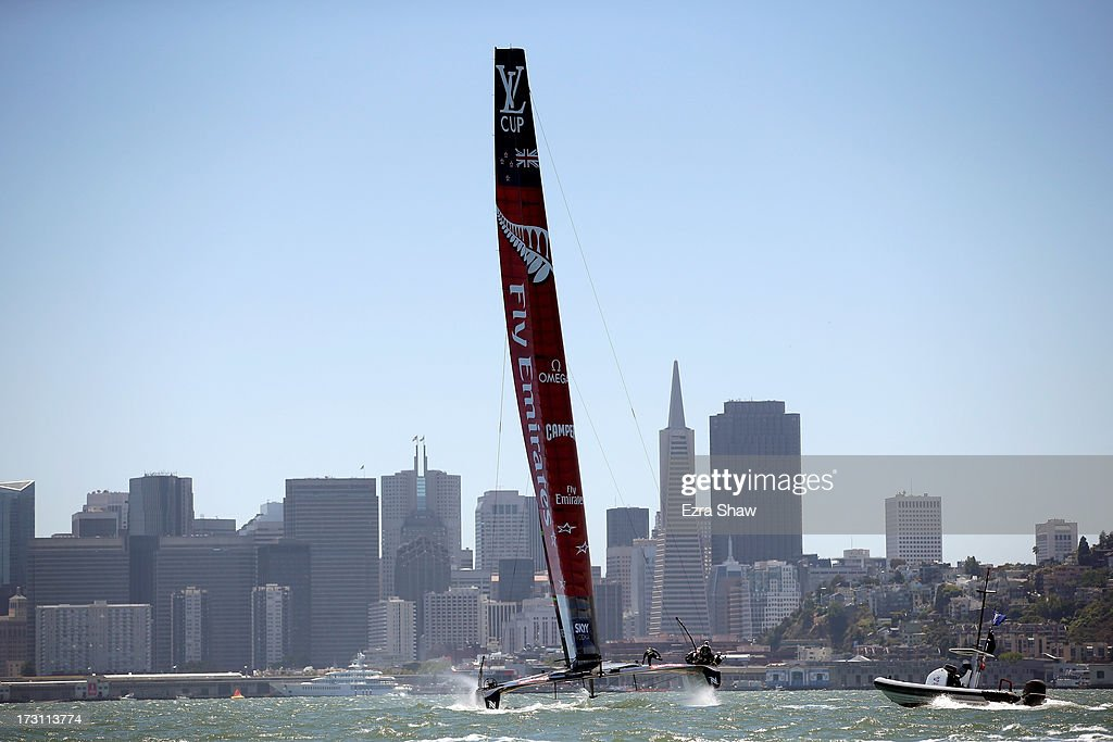 Emirates Team New Zealand, skippered by <a gi-track='captionPersonalityLinkClicked' href=/galleries/search?phrase=Dean+Barker&family=editorial&specificpeople=636929 ng-click='$event.stopPropagation()'>Dean Barker</a>, in action during the round robin stage of the Louis Vuitton Cup on July 7, 2013 in San Francisco, California. The winner of the Louis Vuitton Cup goes on to race against Oracle Team USA in the America's Cup Finals that start on September 7. Emirates Team New Zealand was supposed to race against Luna Rossa, but Luna Rossa protested the race and did not sail.