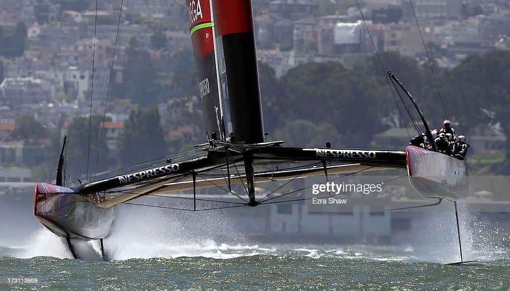 Emirates Team New Zealand, skippered by Dean Barker, in action during the round robin stage of the Louis Vuitton Cup on July 7, 2013 in San Francisco, California. The winner of the Louis Vuitton Cup goes on to race against Oracle Team USA in the America's Cup Finals that start on September 7. Emirates Team New Zealand was supposed to race against Luna Rossa, but Luna Rossa protested the race and did not sail.