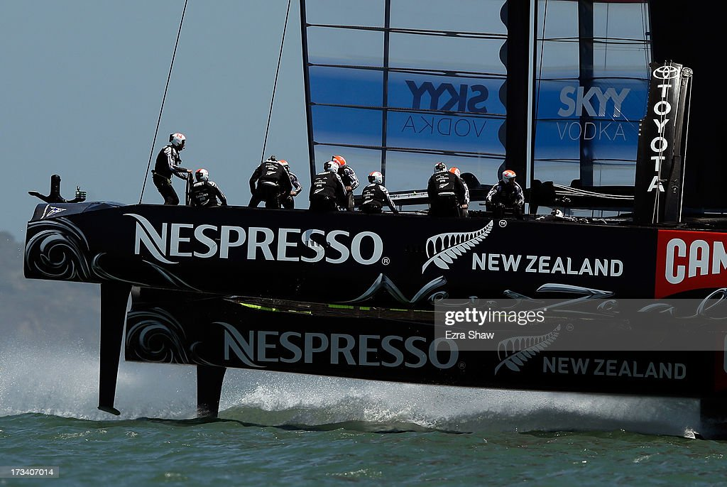 Emirates Team New Zealand skippered by <a gi-track='captionPersonalityLinkClicked' href=/galleries/search?phrase=Dean+Barker&family=editorial&specificpeople=636929 ng-click='$event.stopPropagation()'>Dean Barker</a> in action during round two of the round robin racing of the Louis Vuitton Cup between Luna Rossa Challenge and Emirates Team New Zealand on July 13, 2013 in San Francisco, California. The winner of the Louis Vuitton Cup goes on to race against Oracle Team USA in the America's Cup Finals that start on September 7.