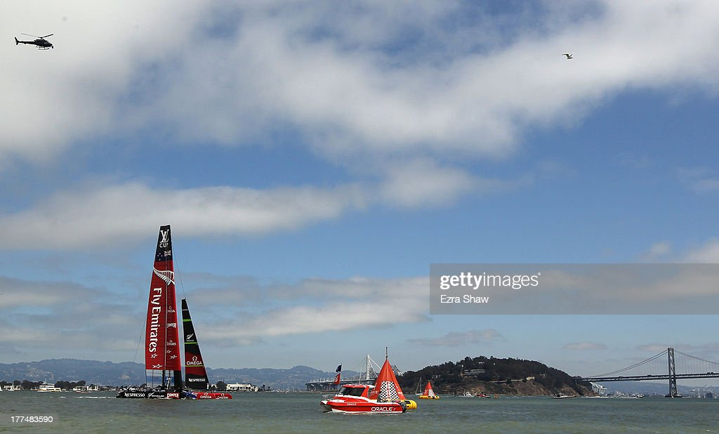 Emirates Team New Zealand skippered by Dean Barker in action during race six of the Louis Vuitton Cup finals against Team Luna Rossa Challenge skippered by Massimiliano Sirena with Chris Draper on the helm on August 23, 2013 in San Francisco, California. Emirates Team New Zealand won the race to take a 5-1 lead in the series. The winner of the Louis Vuitton Cup goes on to race against Oracle Team USA in the America's Cup Finals that start on September 7.