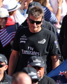 Emirates Team New Zealand skippered by Dean Barker looks on after losing to Oracle Team USA skippered by James Spithill during the final race of the...