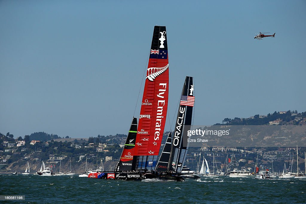 Emirates Team New Zealand skippered by Dean Barker races against Oracle Team USA skippered by James Spithill during race eight of the America's Cup Finals on September 14, 2013 in San Francisco, California. Oracle Team USA won the race.