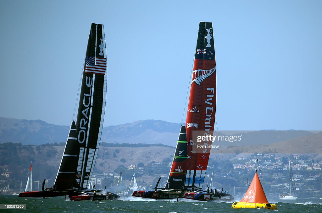 Emirates Team New Zealand skippered by Dean Barker races against Oracle Team USA skippered by James Spithill at the start of race nine of the America's Cup Finals on September 14, 2013 in San Francisco, California. The race was postponed after the race began because of high winds.