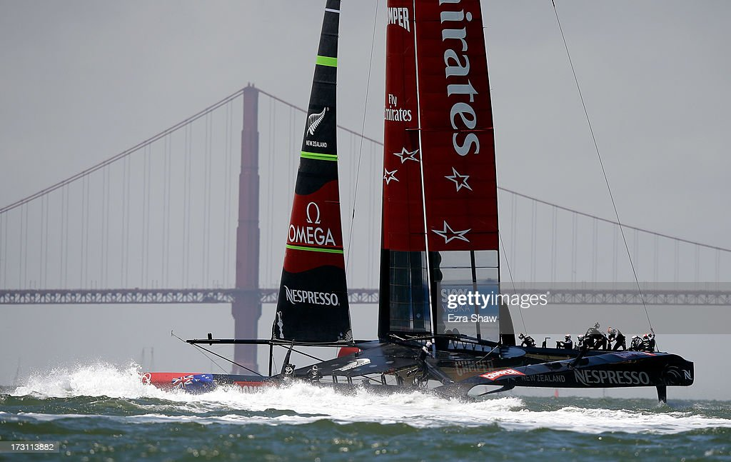 Emirates Team New Zealand, skippered by Dean Barker, races near the Golden Gate Bridge during the round robin stage of the Louis Vuitton Cup on July 7, 2013 in San Francisco, California. The winner of the Louis Vuitton Cup goes on to race against Oracle Team USA in the America's Cup Finals that start on September 7. Emirates Team New Zealand was supposed to race against Luna Rossa, but Luna Rossa protested the race and did not sail.