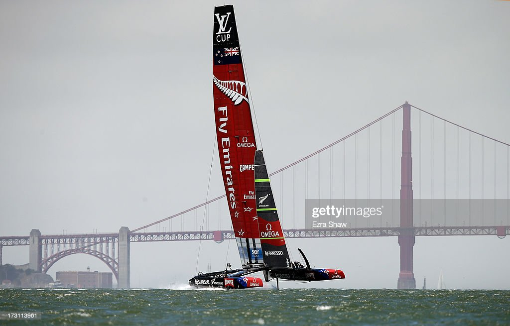Emirates Team New Zealand, skippered by <a gi-track='captionPersonalityLinkClicked' href=/galleries/search?phrase=Dean+Barker&family=editorial&specificpeople=636929 ng-click='$event.stopPropagation()'>Dean Barker</a>, races near the Golden Gate Bridge during the round robin stage of the Louis Vuitton Cup on July 7, 2013 in San Francisco, California. The winner of the Louis Vuitton Cup goes on to race against Oracle Team USA in the America's Cup Finals that start on September 7. Emirates Team New Zealand was supposed to race against Luna Rossa, but Luna Rossa protested the race and did not sail.