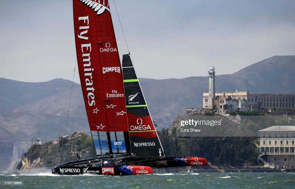 Emirates Team New Zealand, skippered by <a gi-track='captionPersonalityLinkClicked' href=/galleries/search?phrase=Dean+Barker&family=editorial&specificpeople=636929 ng-click='$event.stopPropagation()'>Dean Barker</a>, races near the Alcatraz Island during the round robin stage of the Louis Vuitton Cup on July 7, 2013 in San Francisco, California. The winner of the Louis Vuitton Cup goes on to race against Oracle Team USA in the America's Cup Finals that start on September 7. Emirates Team New Zealand was supposed to race against Luna Rossa, but Luna Rossa protested the race and did not sail.