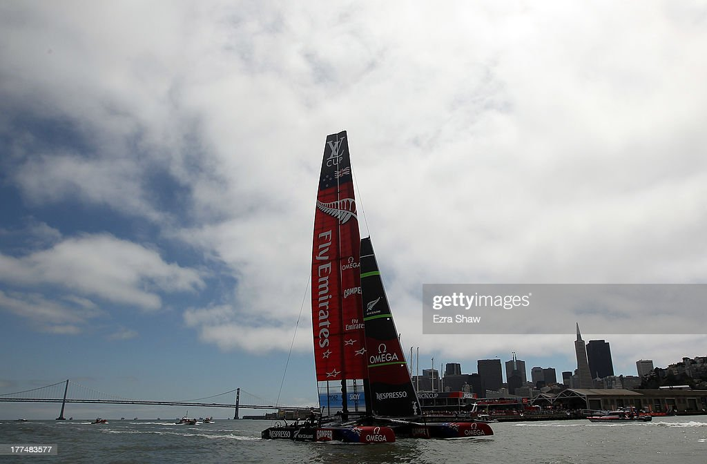 Emirates Team New Zealand skippered by Dean Barker sails near the San Francisco waterfront following race six of the Louis Vuitton Cup finals against Team Luna Rossa Challenge skippered by Massimiliano Sirena with Chris Draper on the helm on August 23, 2013 in San Francisco, California. Emirates Team New Zealand won the race to take a 5-1 lead in the series. The winner of the Louis Vuitton Cup goes on to race against Oracle Team USA in the America's Cup Finals that start on September 7.