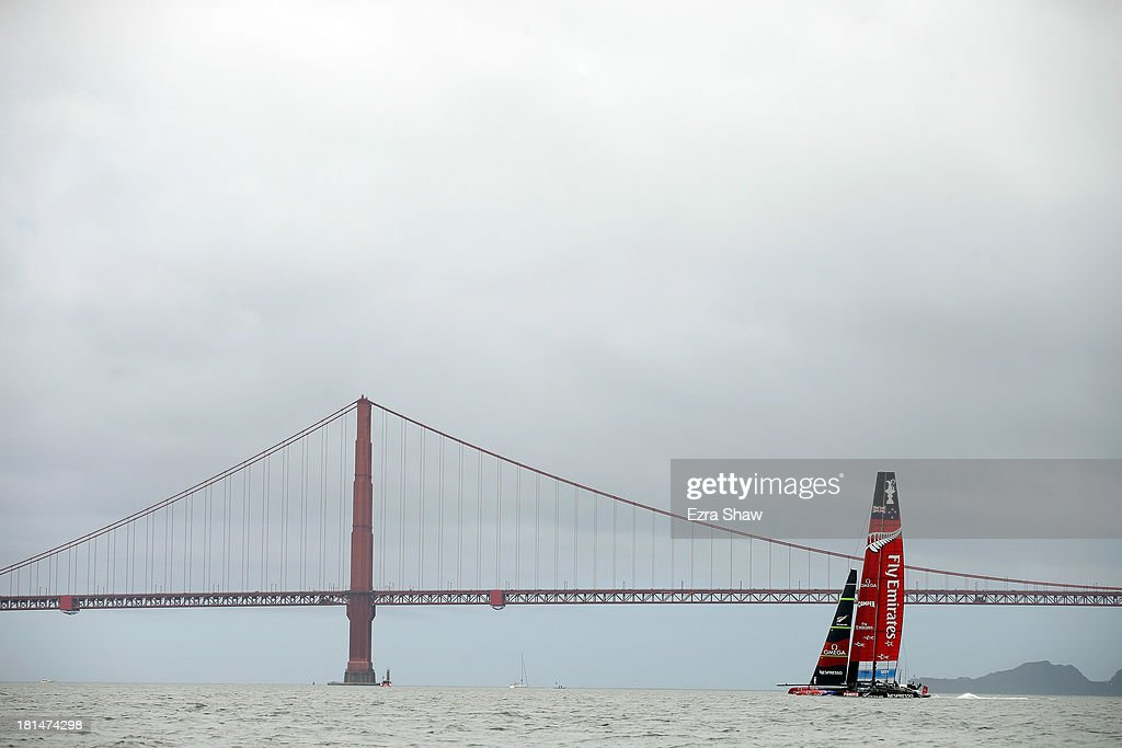 Emirates Team New Zealand skippered by Dean Barker sails on the San Franisco Bay on September 21, 2013 in San Francisco, California. Emirates Team New Zealand was supposed to race against Oracle Team USA skippered by James Spithill in race 14 of the America's Cup Finals today but the race was postponed due to wind direction.