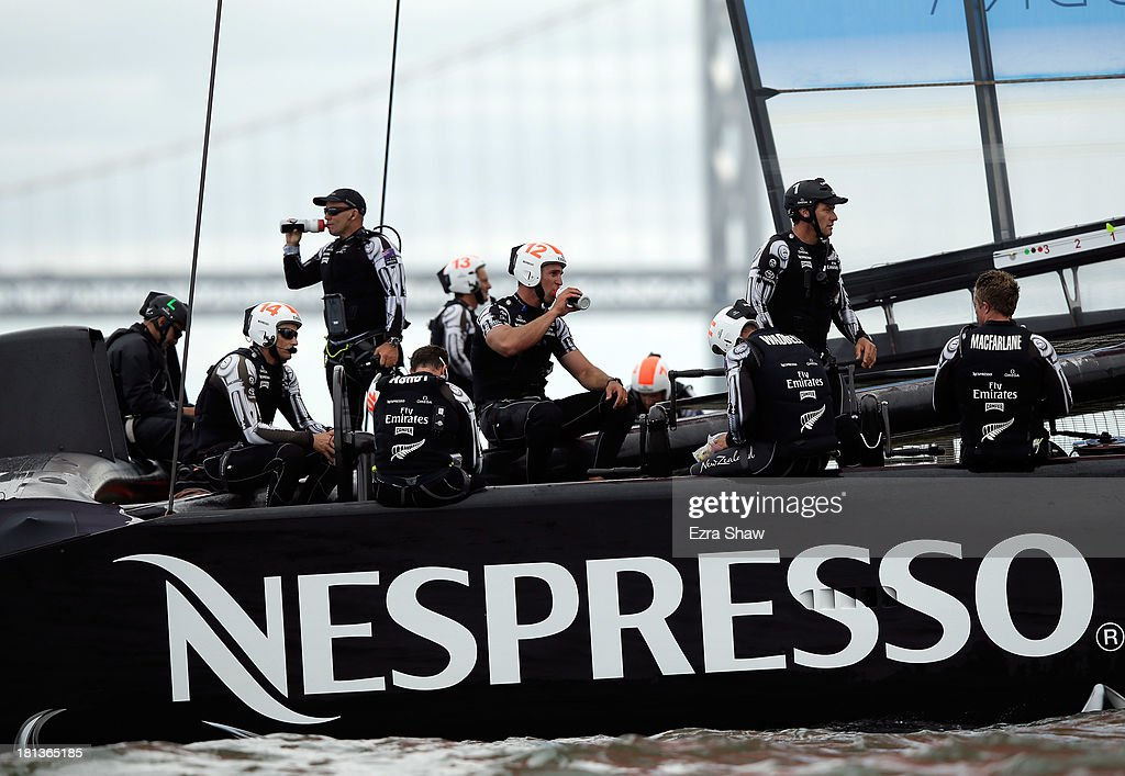 Emirates Team New Zealand skippered by Dean Barker sits on their boat after race 13 was abandoned due to the fact they exceeded the time limit of their race against Oracle Team USA in the America's Cup Finals on September 20, 2013 in San Francisco, California.