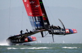 Emirates Team New Zealand skippered by Dean Barker trains before the start of their round robin race against Luna Rossa Challenge in the Louis...