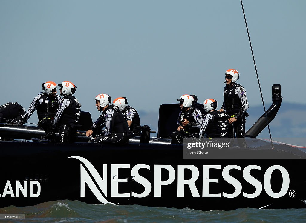 Emirates Team New Zealand skippered by Dean Barker waits on their boat after race 12 against Oracle Team USA was postponed during the America's Cup Finals on September 18, 2013 in San Francisco, California. The race was postponed due to high winds right before the race began but both teams still raced to the first mark.