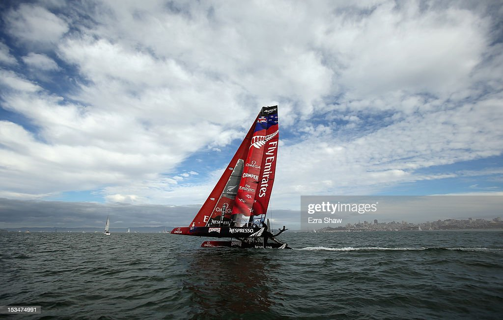 Emirates Team New Zealand skippered by Dean Barker warms up before a fleet race of the America's Cup World Series on October 5, 2012 in San Francisco, California. Teams are racing on an AC45 boat, which is the forerunner to the AC72 that teams will race next year in the Louis Vuitton Cup and America's Cup Finals in San Francisco. Olympic swimmer Natalie Coughlin was the guest racer on the Emirates boat during the sixth fleet race.