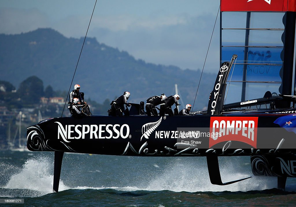 Emirates Team New Zealand skippered by Dean Barker warms up before racing against Oracle Team USA skippered by James Spithill in race eight of the America's Cup Finals on September 14, 2013 in San Francisco, California.
