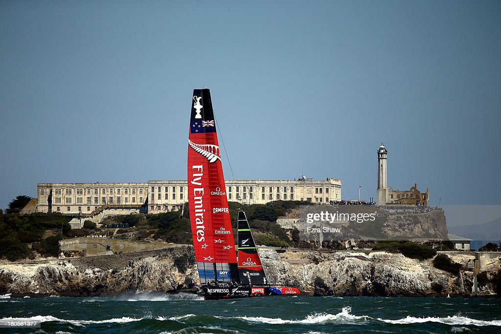 Emirates Team New Zealand skippered by Dean Barker warms up before racing against Oracle Team USA skippered by James Spithill in race nine of the America's Cup Finals on September 14, 2013 in San Francisco, California.