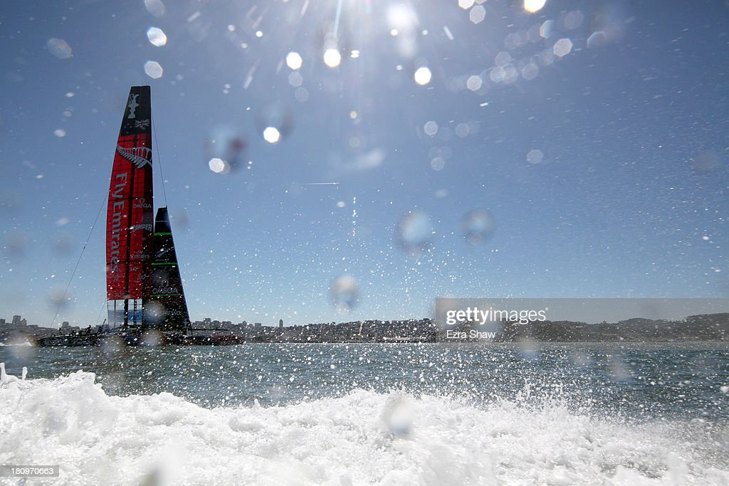 Emirates Team New Zealand skippered by Dean Barker warms up before racing against Oracle Team USA skippered by James Spithill in race 11 of the America's Cup Finals on September 18, 2013 in San Francisco, California. Emirates Team New Zealand won the race and now only needs one more race to win the America's Cup.