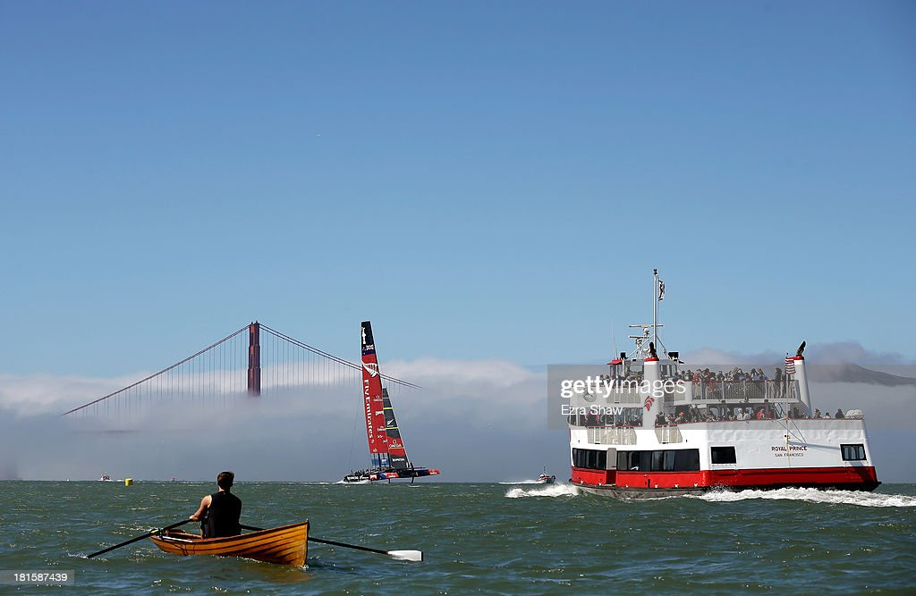 Emirates Team New Zealand skippered by Dean Barker warms up before racing againsts Oracle Team USA skippered by James Spithill in race 14 of the...