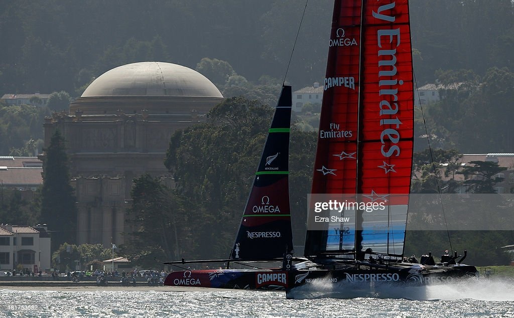 Emirates Team New Zealand skippered by Dean Barker warms up on the San Francisco Bay before racing against Oracle Team USA in race 17 of the America's Cup Finals on September 24, 2013 in San Francisco, California. Oracle Team won both races today.