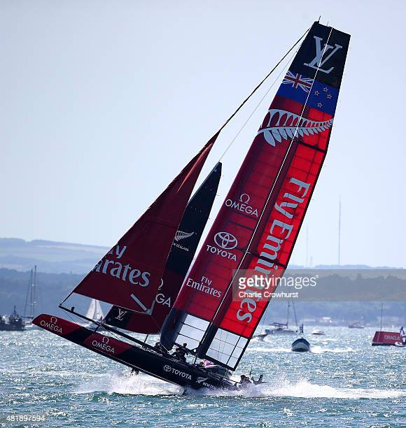 Emirates Team New Zealand Skippered by Glenn Ashby in action during the official race on Day Three of the Louis Vuitton America's Cup World Series on...