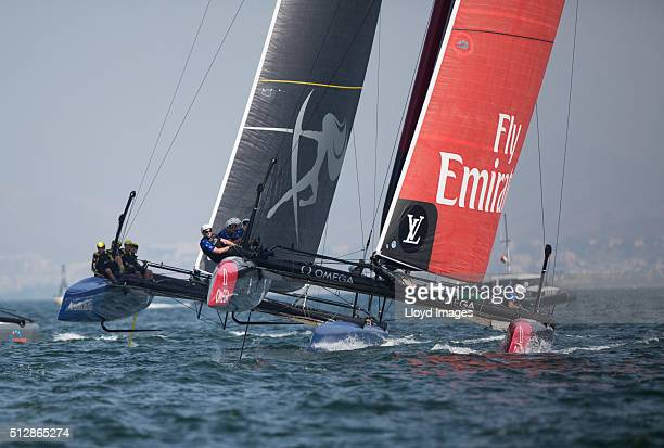Emirates Team New Zealand skippered by Glenn Ashby in action during The Louis Vuitton Americas Cup World Series on February 28 2016 in Muscat Oman