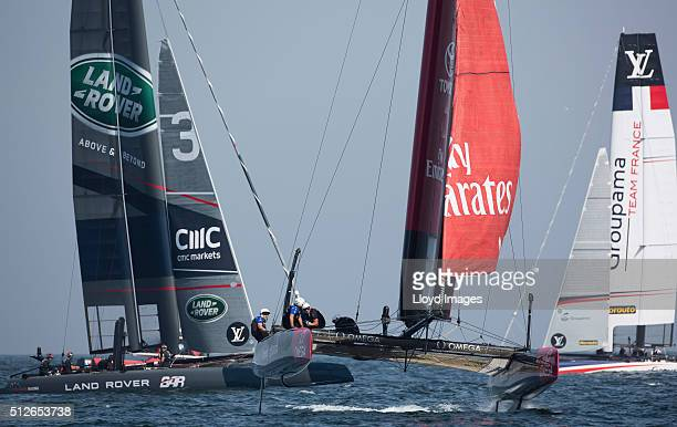 Emirates Team New Zealand skippered by Glenn Ashby of Australia and helmed by Peter Burling of New Zealand racing during the first day of racing...