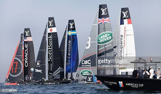 Emirates Team New Zealand skippered by Glenn Ashby Oracle Team USA skippered by Jimmy Spithill Softbank Team Japan skippered by Dean Barker Aretmis...