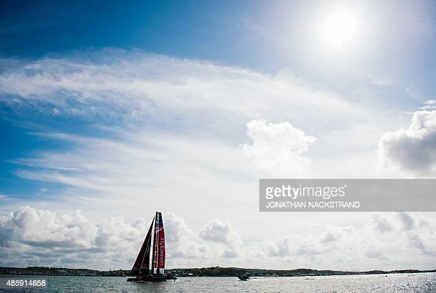 Emirates Team New Zealand skippered by Peter Burling competes in the second and last day of races of the 35th America's Cup World Series in...