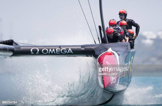 Emirates Team New Zealand skippered by Peter Burling races during the first race of the forth day of the Louis Vuitton Americas Cup Qualifiers on May...
