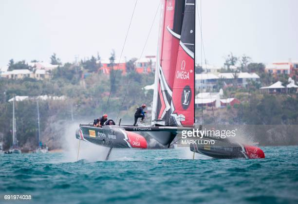 Emirates Team New Zealand skippered by Peter Burling races during the America's Cup on June 3 2017 on Bermuda's Great Sound Holders Oracle Team USA...