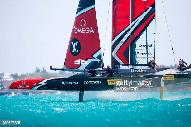 Emirates Team New Zealand skippered by Peter Burling races in the 35th America's Cup Challenger Playoffs Semifinals on June 5 on Bermuda's Great...