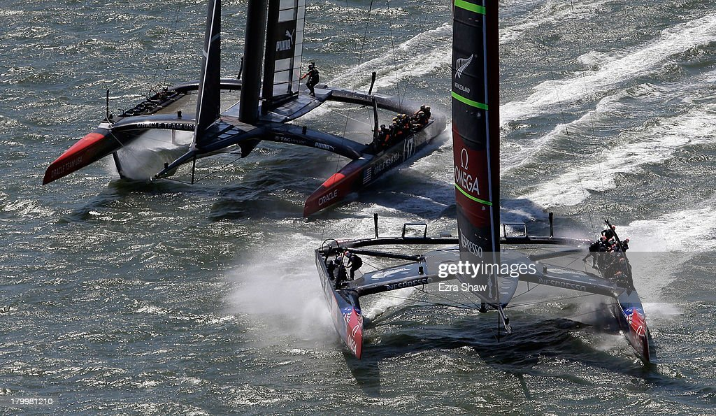 Emirates Team New Zealand skippered Dean Barker and Oracle Team USA skippered James Spithill in action during race one of the America's Cup Finals on...