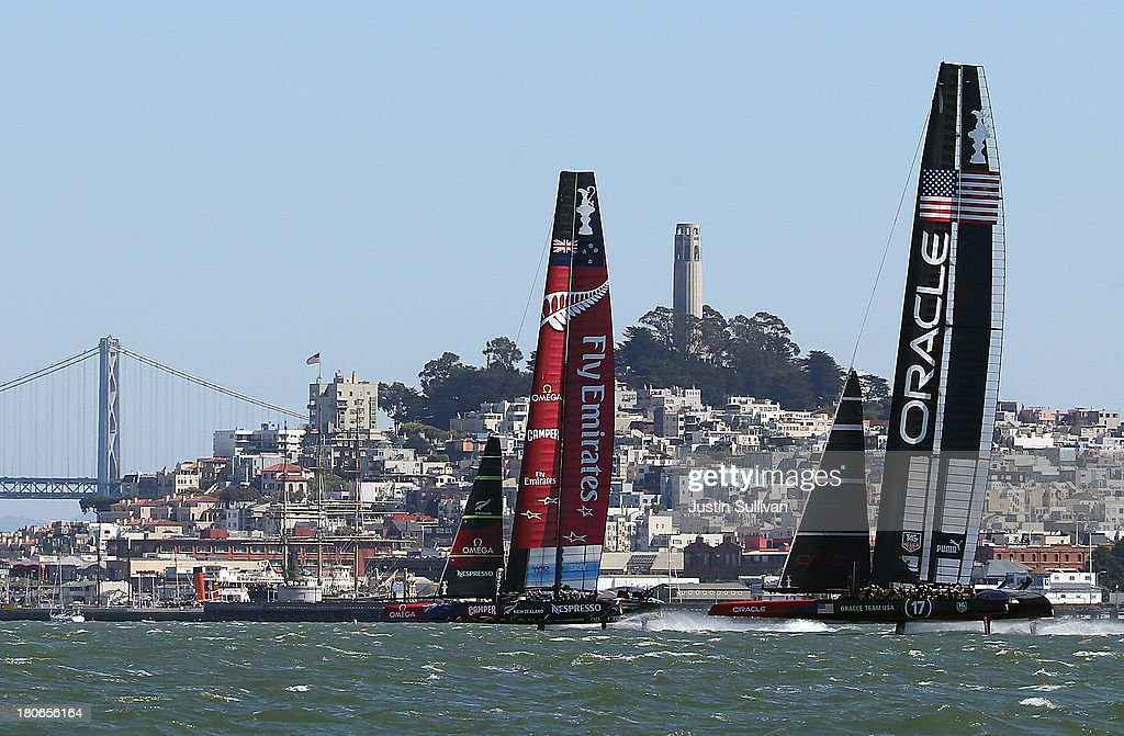 Emirates Team New Zealand skippered Dean Barker (L) and Oracle Team USA skippered James Spithill (R) in action during race ten of the America's Cup finals on September 15, 2013 in San Francisco, California. Team Oracle USA won race nine and Emirates Team New Zealand won race ten.