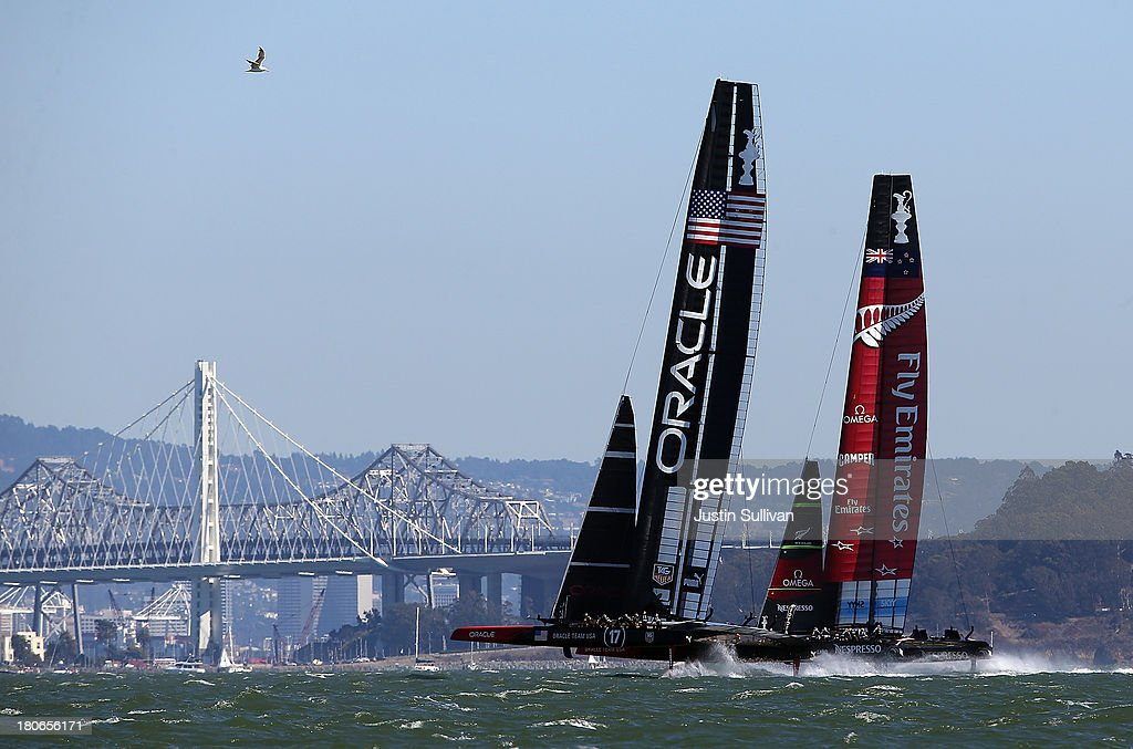 Emirates Team New Zealand skippered Dean Barker (R) and Oracle Team USA skippered James Spithill (L) in action during race ten of the America's Cup finals on September 15, 2013 in San Francisco, California. Team Oracle USA won race nine and Emirates Team New Zealand won race ten.
