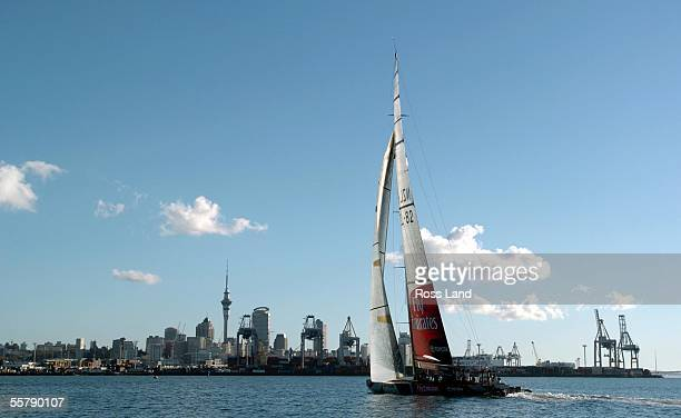 Emirates Team New Zealand yacht against an Auckland City backdrop during a sail on Aucklands' Waitemata Harbour Monday June 14 to mark the...