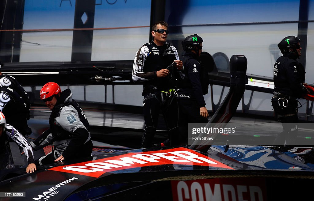Emirates Team New Zealand's skipper <a gi-track='captionPersonalityLinkClicked' href=/galleries/search?phrase=Dean+Barker&family=editorial&specificpeople=636929 ng-click='$event.stopPropagation()'>Dean Barker</a> stands on his boat following race six of the Louis Vuitton Cup finals against Team Luna Rossa Challenge skippered by Massimiliano Sirena with Chris Draper on the helm on August 23, 2013 in San Francisco, California. Emirates Team New Zealand won the race to take a 5-1 lead in the series. The winner of the Louis Vuitton Cup goes on to race against Oracle Team USA in the America's Cup Finals that start on September 7.