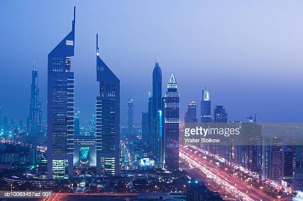 Emirates Towers and Sheikh Zayed Road at dusk