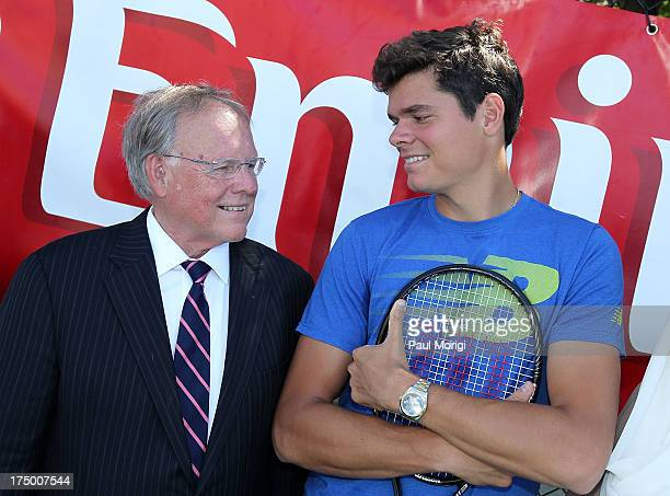 Emirates' Vice President North America Jim Baxter talks with ATP Tennis Pro Milos Raonic at an Emirates USTA Serves DC Mayor and DC Parks and...