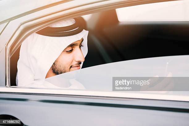 Emirati businessman in car