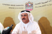 Emirati Minister of Economy Sultan bin Saeed alMansoori speaks during a press conference in Dubai on June 4 where he announced that the economy of...
